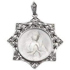 Mother-of-Pearl Diamond 18 Karat Gold Madonna Virgin Mary Pendant