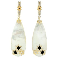 Pearl Diamond 18 Karat Gold Star Earrings