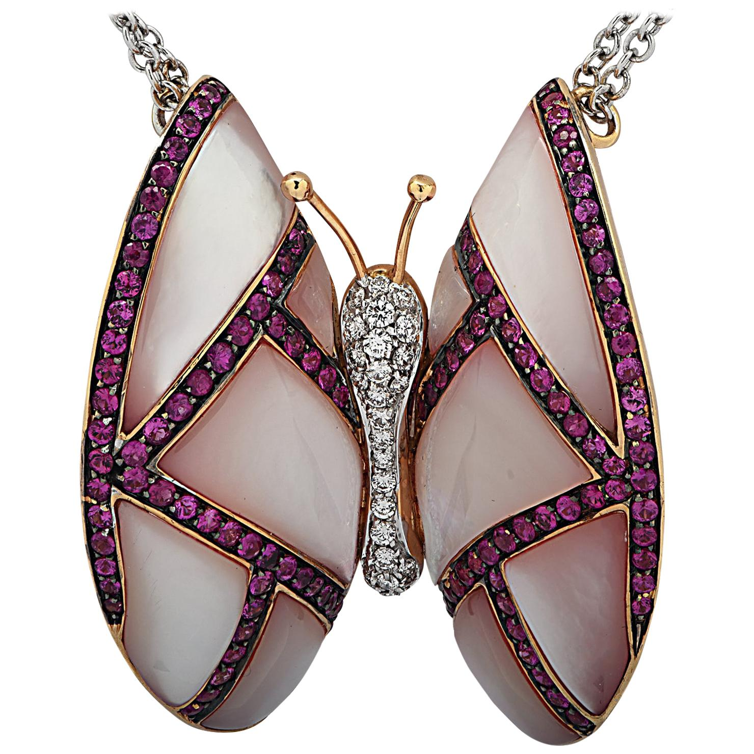 Mother of Pearl, Diamond and Pink Sapphire Butterfly Necklace