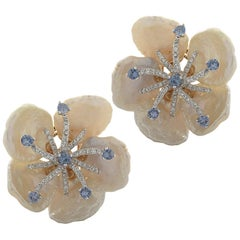 Mother of Pearl, Diamond and Sapphire Earrings