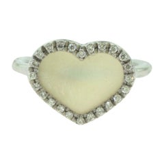 Mother of Pearl Diamond Heart Ring in 18 Karat White Gold