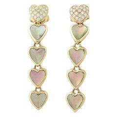 Mother of Pearl & Diamond Kabana Heart Earrings, 14 Karat Gold Round Cut .26ctw