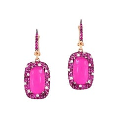 Mother of Pearl Diamond Ruby Pink Sapphire White Gold 18 Karat Earrings For Her