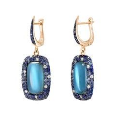 Mother of Pearl Diamond Topaz Sapphire Rose Gold 18 Karat Earrings for Her