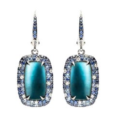 Mother of Pearl Diamond Topaz Sapphire White Gold 18 Karat Earrings