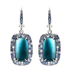 Mother of Pearl Diamond Topaz Sapphire White Gold 18 Karat Earrings