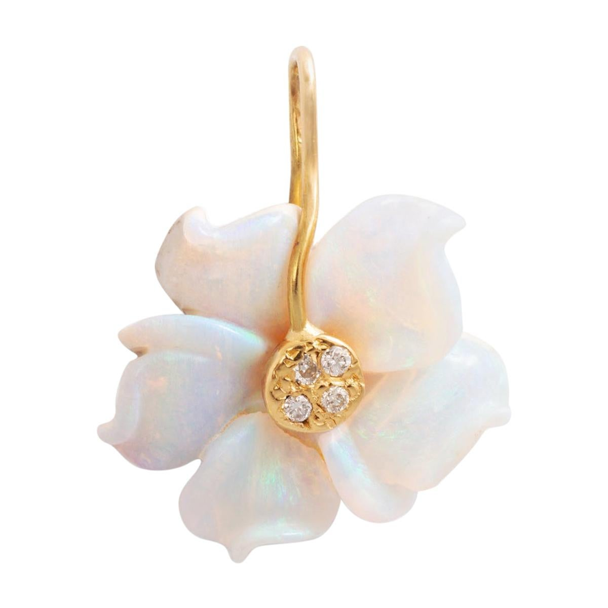 Mother of Pearl Diamond Yellow Gold Flower Pendant