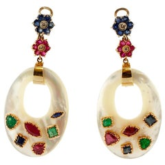 Mother of Pearl, Diamonds, Rubies, Emeralds, Sapphires Dangle Earrings