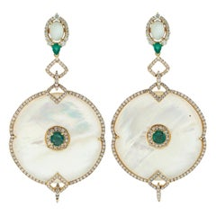 Mother of Pearl Emerald Diamond 18 Karat Gold Earrings