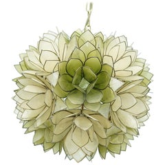 Mother of Pearl Flower Pendant Lamp, France, 1970s