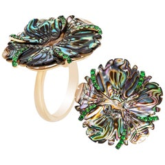Mother of Pearl Flower Ring with Tsavorites
