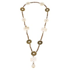Mother of Pearl Fresh Water Pearls Old Chinese Coin Necklace