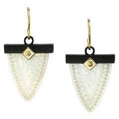 Mother-of-Pearl Gaming Counter, 18k Yellow Gold, Blackened Silver Drop Earrings