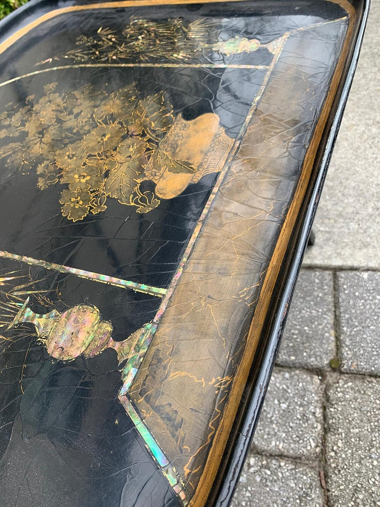 Mother of Pearl Inlaid and Painted Black Coffee Table For Sale 4