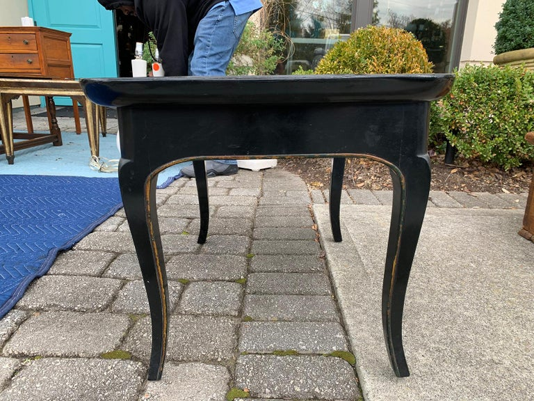 Mother of Pearl Inlaid and Painted Black Coffee Table For Sale 6