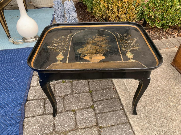 Inlay Mother of Pearl Inlaid and Painted Black Coffee Table For Sale