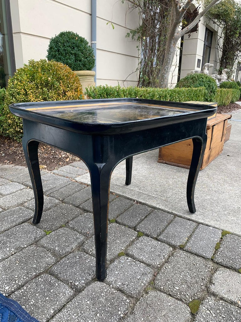 Mother of Pearl Inlaid and Painted Black Coffee Table In Good Condition For Sale In Atlanta, GA