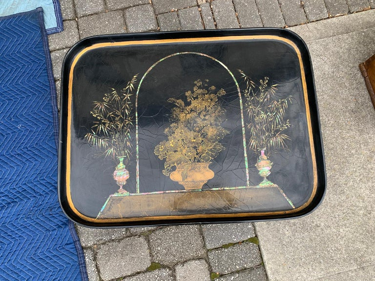 Early 20th Century Mother of Pearl Inlaid and Painted Black Coffee Table For Sale