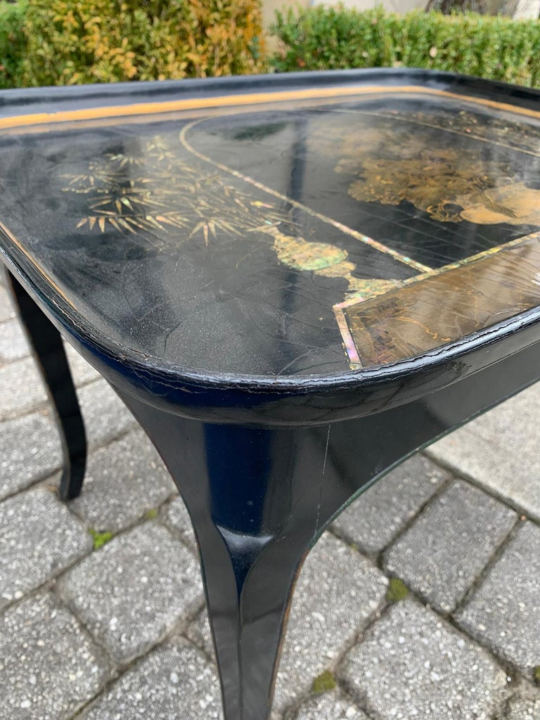 Mother-of-Pearl Mother of Pearl Inlaid and Painted Black Coffee Table For Sale