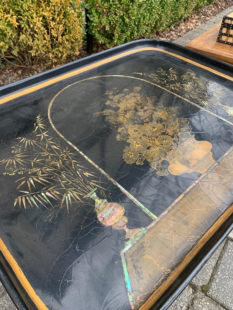 Mother of Pearl Inlaid and Painted Black Coffee Table For Sale 1