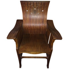 Mother of Pearl inlay British Colonial Mother of Pearl Art Deco Armchair