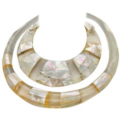 Mother of Pearl Iridescent  Eco-luxe Statement Necklace, by Sylvia Gottwald