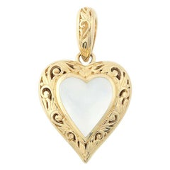 Mother of Pearl Kabana Heart Locket, 14 Karat Yellow Gold Love Gift