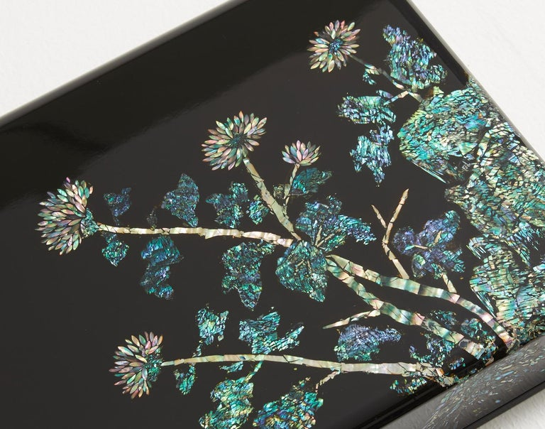 Modern Mother of Pearl Lacquer Box with Chrysanthemum Flowers Design by Arijian For Sale