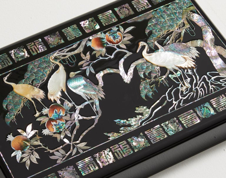 Modern Mother of Pearl Lacquer Box with Ten Longevity Symbols by Arijian For Sale