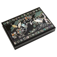 Mother of Pearl Lacquer Box with Ten Longevity Symbols by Arijian