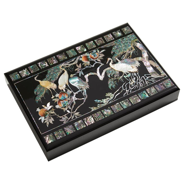 Mother of Pearl Lacquer Box with Ten Longevity Symbols by Arijian For Sale