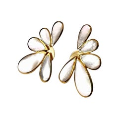 Mother of Pearl on Yellow Gold Stylized Flower Ear Clips
