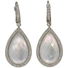 Mother of Pearl Quartz Diamond Gold Drop Earrings