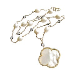 Mother of Pearl Quatrefoil Baroque Pearls White Topaz Layering Necklace