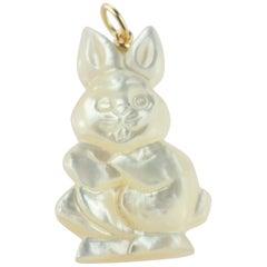 Mother of Pearl Rabbit Bunny 18 Karat Gold Handmade Easter Pendant Necklace