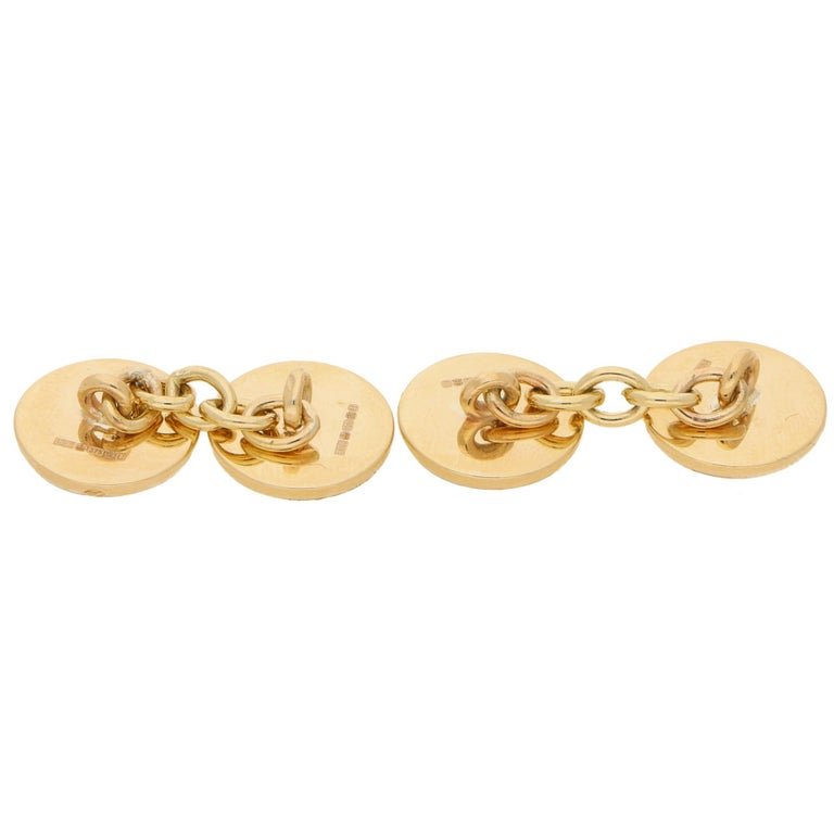 Modern Mother of Pearl Round Chain Cufflinks Set in 9k Yellow Gold For Sale