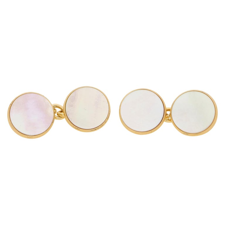 Mother of Pearl Round Chain Cufflinks Set in 9k Yellow Gold For Sale