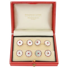 Mother of Pearl, Ruby and Enamel Cufflink and Shirt Stud Set in Solid Silver