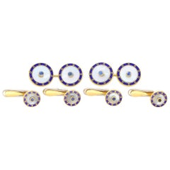 Mother of Pearl, Sapphire and Blue Enamel Cufflink and Dress Set in 18 Karat