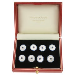 Mother of Pearl, Sapphire and Enamel Cufflink and Shirt Stud in Solid Silver