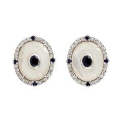 Mother of Pearl Sapphire Diamond 18 Karat Gold Stud Earrings