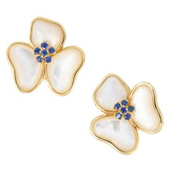 Mother of Pearl Sapphire Flower Petal Stud Earrings