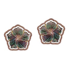 Mother of Pearl Small Flower Earrings with Brown Diamonds
