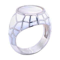 Mother of Pearl Spiderweb White Enameled Sterling Silver Signet Cocktail Ring