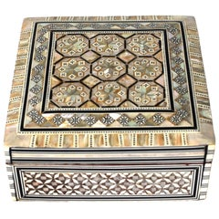 Mother-of-Pearl Square Jewelry Box, Beehive Pattern