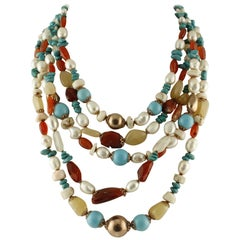 White Stones,Turquoise,Pearls,Carnelians,Moon-Stone Silver Multi-Strand Necklace