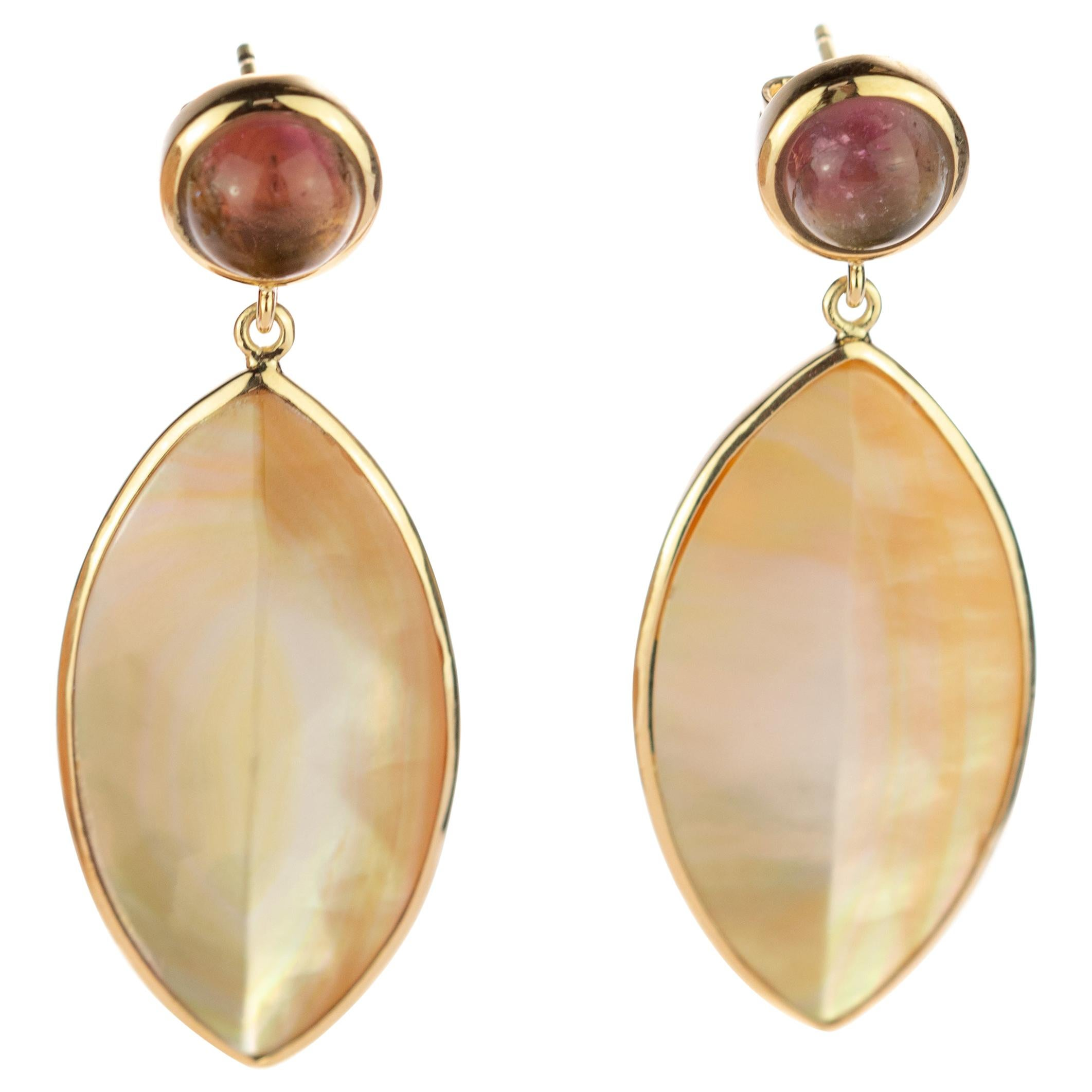 Mother Pearl Leaf Leaves Tourmaline Cabochon 18 Karat Gold Drop Vintage Earrings