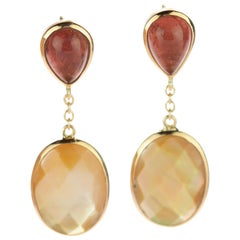 Mother of Pearl Tourmaline 18 Karat Gold Pineapple Drop Stud Earrings