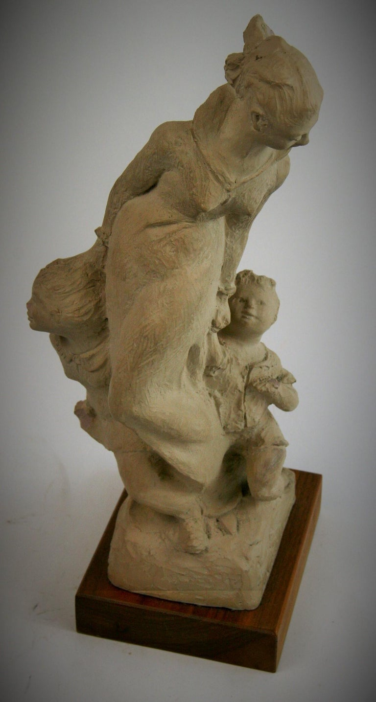Mother with Children Cast Stone Sculpture For Sale 8