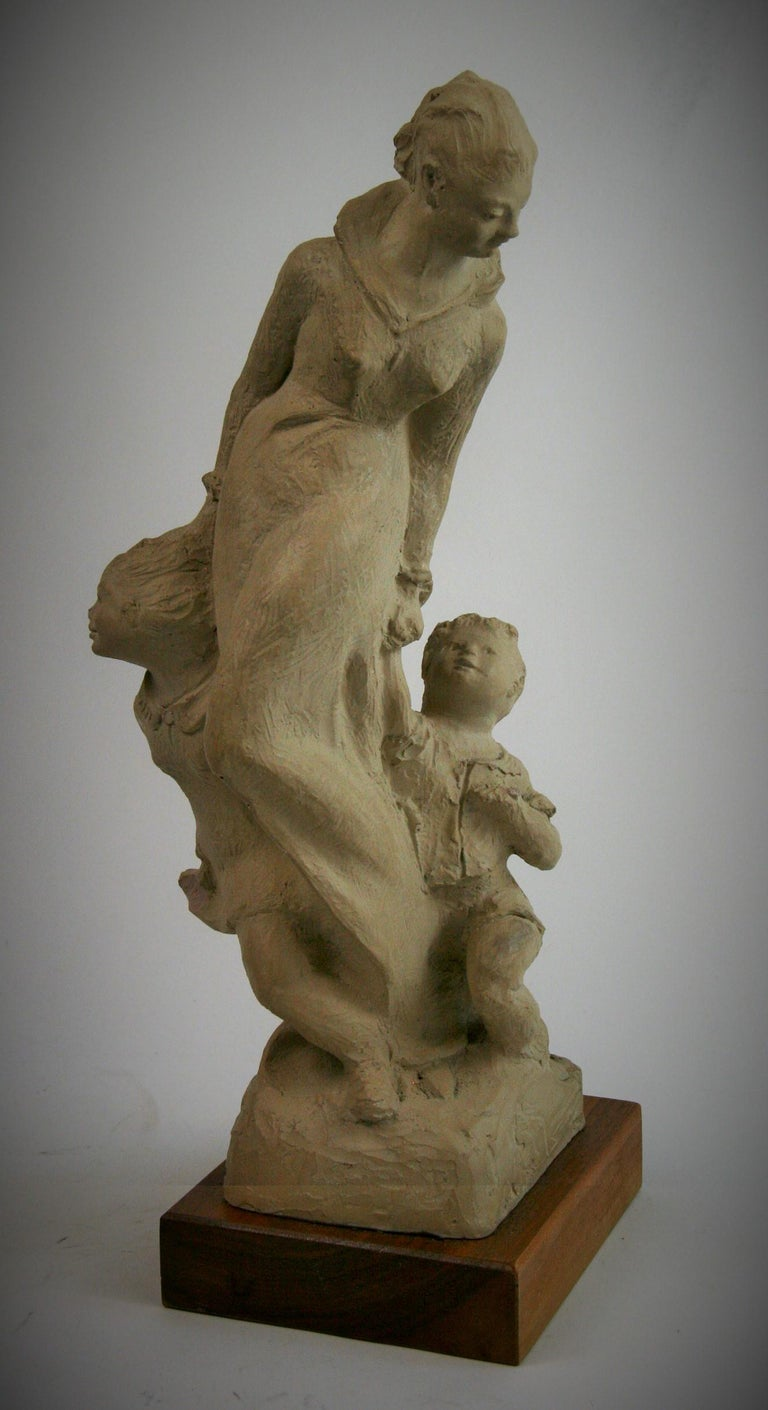 2-295 mother with 2 small children cast stone figurative sculpture on walnut wood base Austin Productions 1983.
